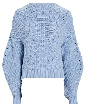 Willow Cable Knit Sweater, BLUE, hi-res