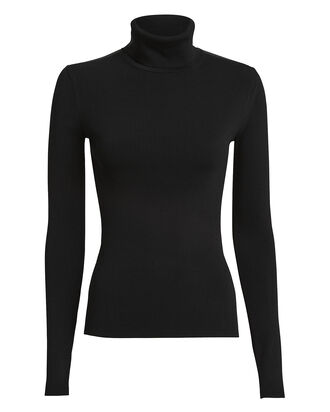 Ribbed Stretch Turtleneck Top, BLACK, hi-res