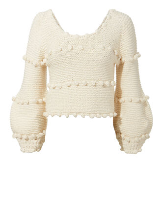 Hyachinth Pom Pom Sweater, WHITE, hi-res