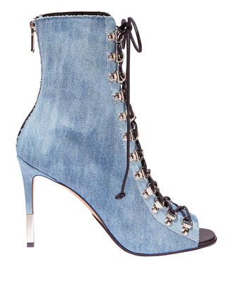 Denim Lace-Up Booties, DENIM, hi-res