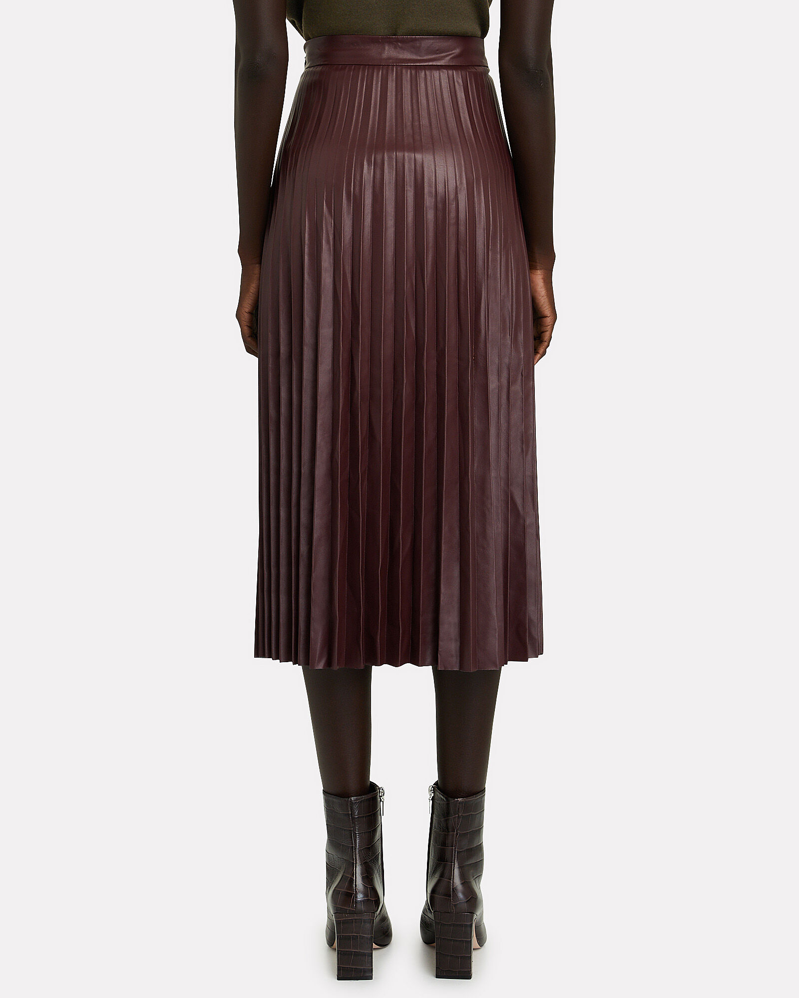 Zuri Pleated Vegan Leather Skirt, RED-DRK, hi-res