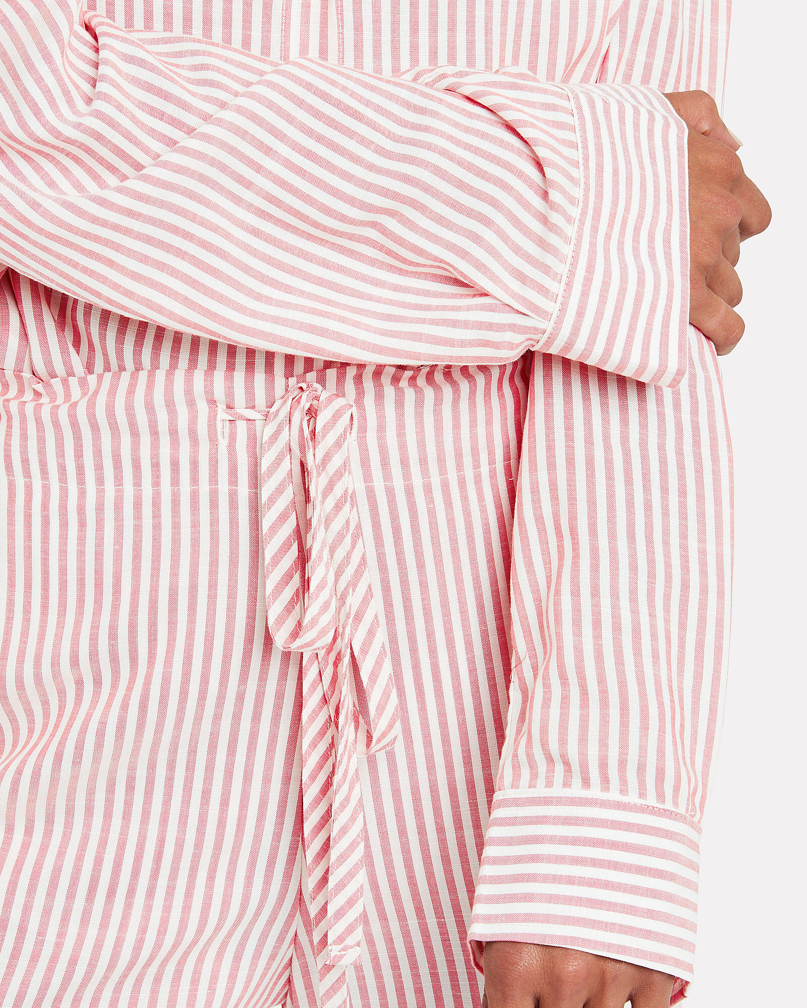 Kye Striped Button Front Shirt, RED/WHITE STRIPE, hi-res