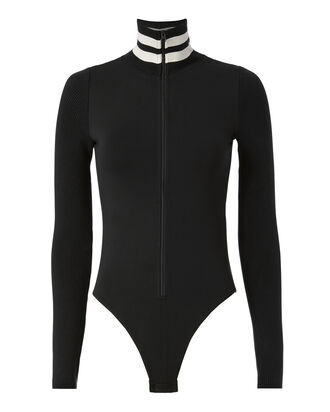 Varsity Stripe Full Zip Bodysuit, BLACK, hi-res