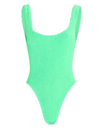 Square Neck One-Piece Swimsuit, GREEN, hi-res