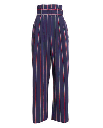 Striped Wide Leg Culottes, NAVY/RED STRIPE, hi-res