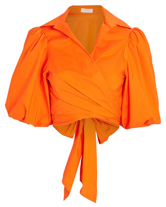 Cellini Poplin Wrap Top, ORANGE, hi-res