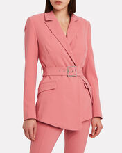 Tailored Wool-Blend Belted Blazer, CORAL, hi-res