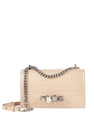 Jewel Knuckle Croc-Embossed Shoulder Bag, BLUSH, hi-res