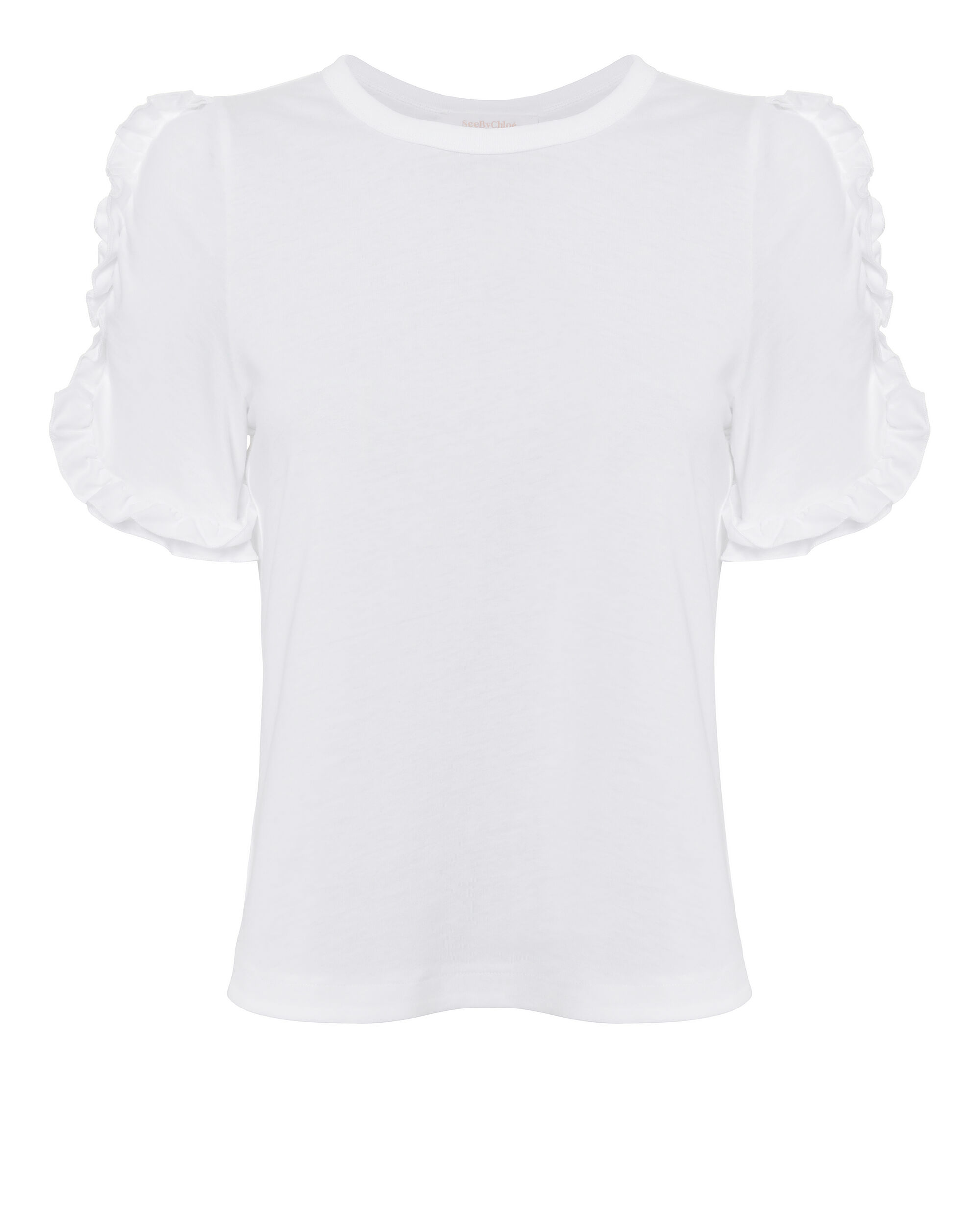 Frilled Sleeve Top, WHITE, hi-res