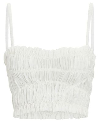 Smocked Bustier Crop Top, WHITE, hi-res