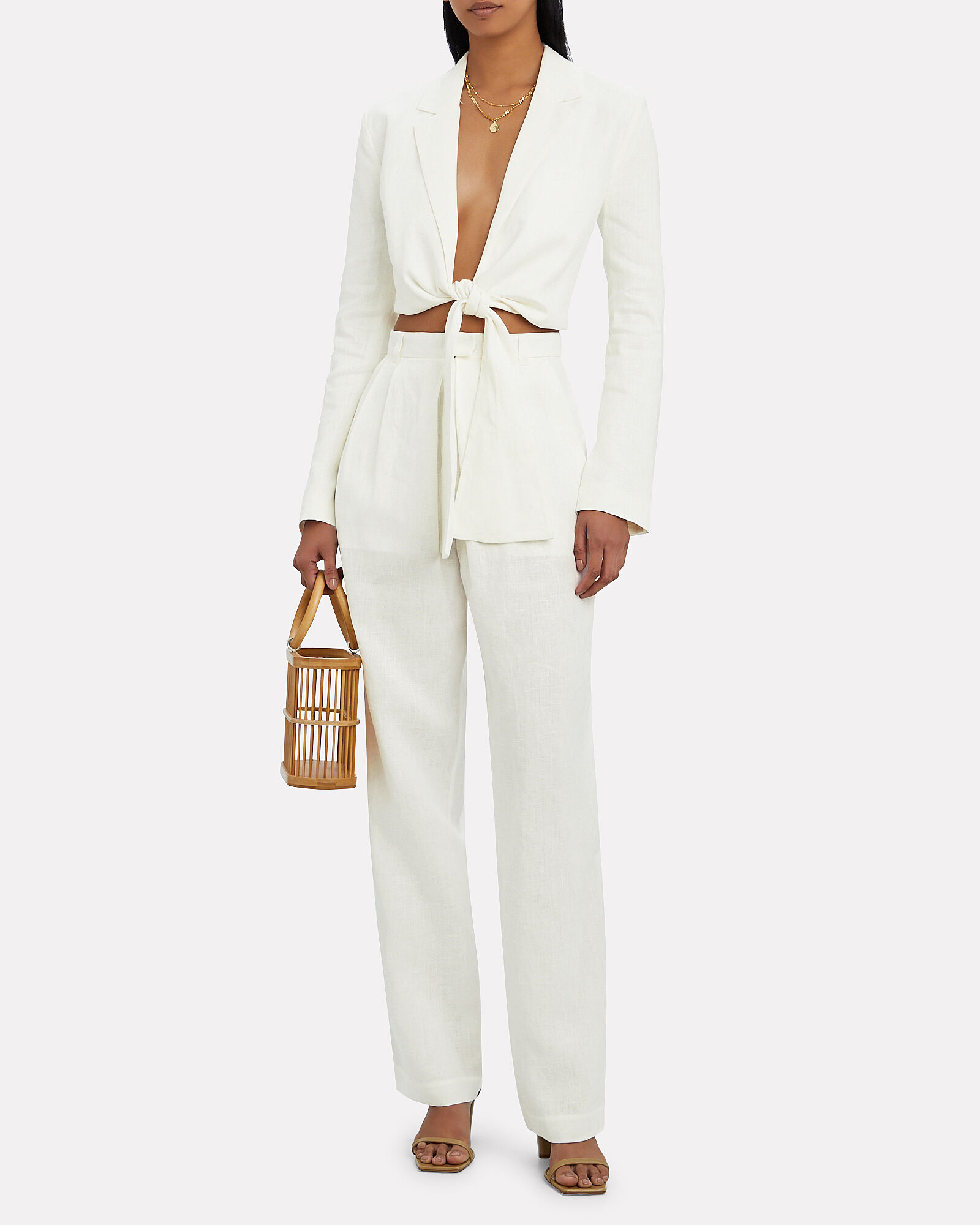 Catalina Cropped Tie-Front Blazer, WHITE, hi-res