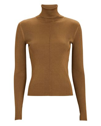 Kreia Rib Knit Turtleneck Top, BROWN, hi-res