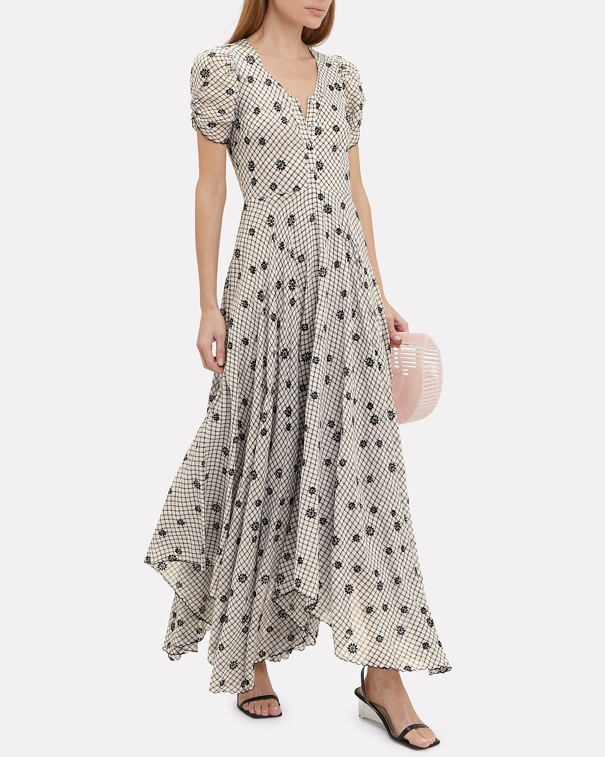 Coraline Gingham Embroidered Maxi Dress, BLACK/WHITE, hi-res