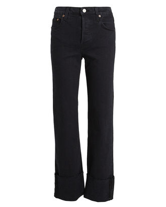 Berit Cuffed Straight Leg Jeans, BLACK WASH DENIM, hi-res