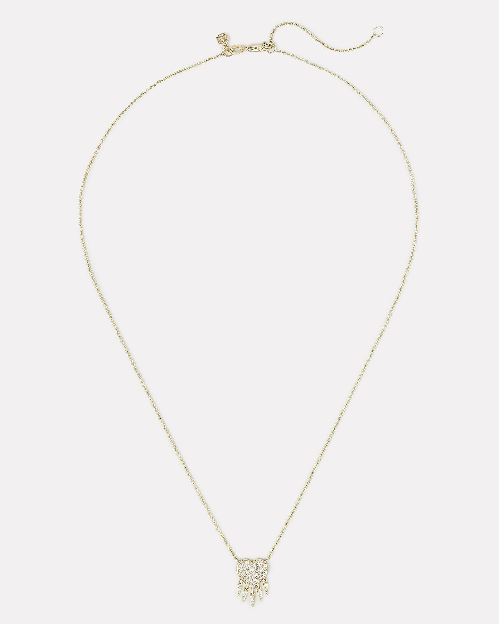Diamond Fringe Heart Necklace, GOLD, hi-res