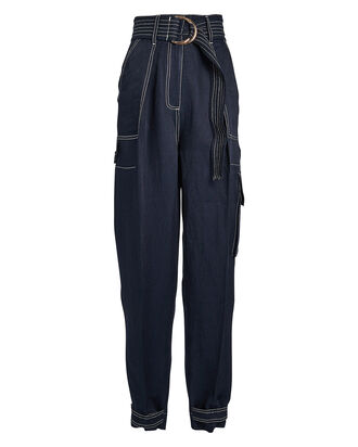 Ellington Linen-Blend Utility Pants, NAVY, hi-res