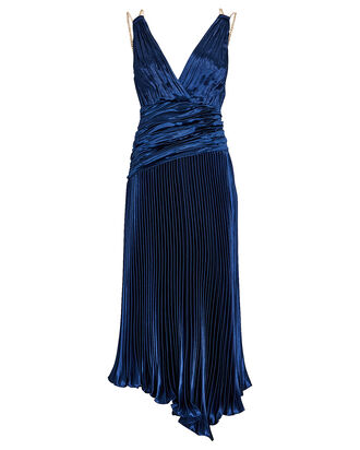 April Pleated Metallic Midi Dress, NAVY, hi-res
