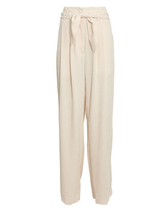 Nellie Paperbag Wide-Leg Trousers, BEIGE, hi-res