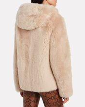 Merino Lamb Short Hooded Coat, BEIGE, hi-res