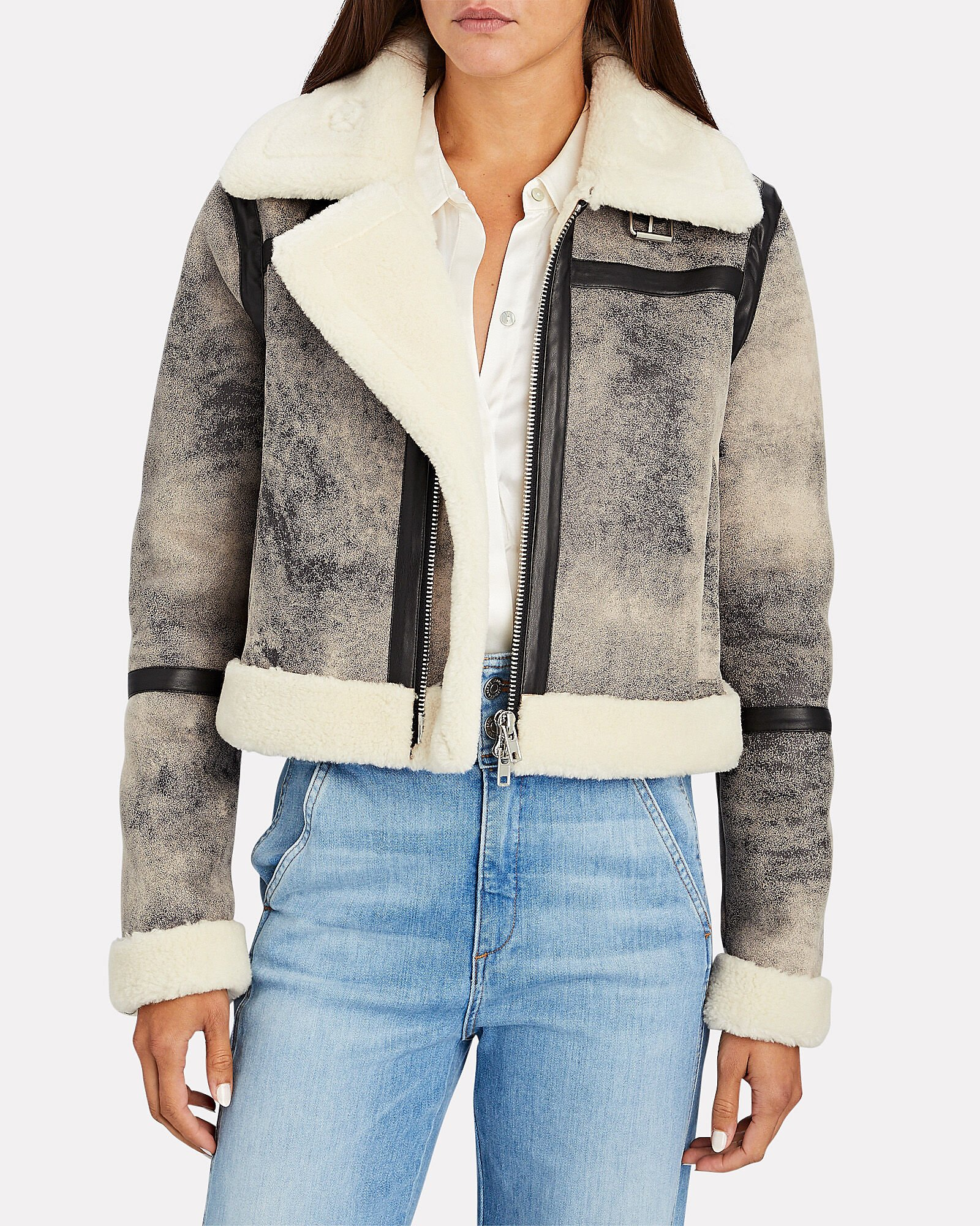 Lorelle Cropped Faux Shearling Jacket, GREY, hi-res