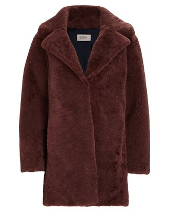 Oversized Shearling Coat, RED-DRK, hi-res