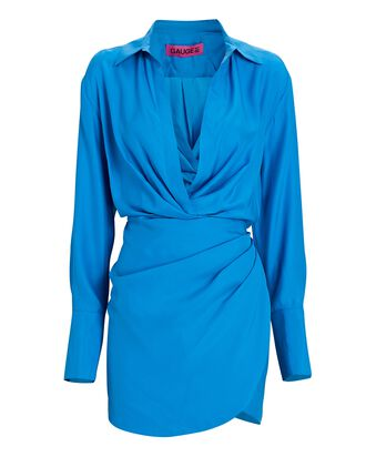 Naha Draped Mini Shirt Dress, BLUE, hi-res