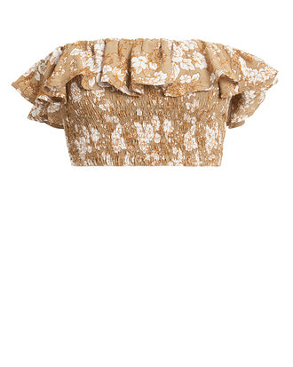 Ines Strapless Crop Top, BEIGE/WHITE, hi-res