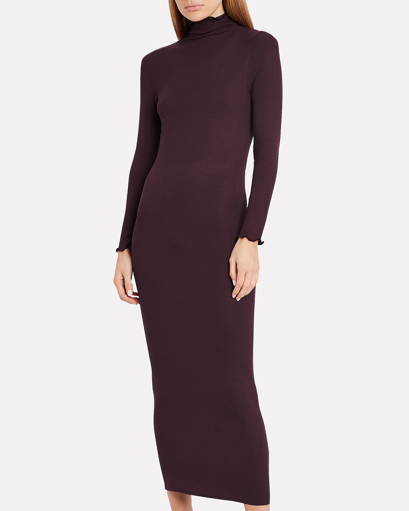 Ribbed Turtleneck Dress, BURGUNDY, hi-res