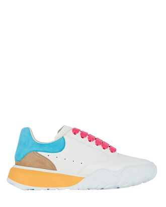 Oversized Leather Court Sneakers, WHITE, hi-res