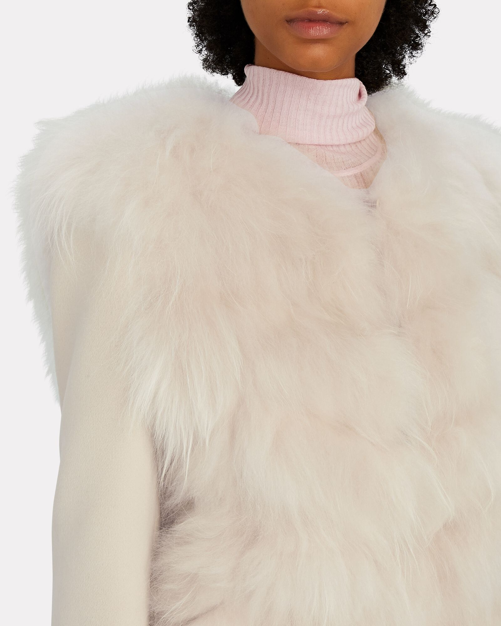 Shearling Wool-Cashmere Knit Jacket, IVORY, hi-res