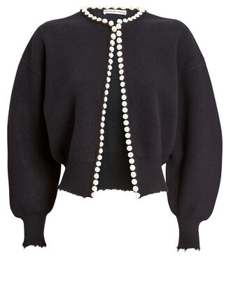 Pearl-Trimmed Cropped Cardigan, BLACK, hi-res