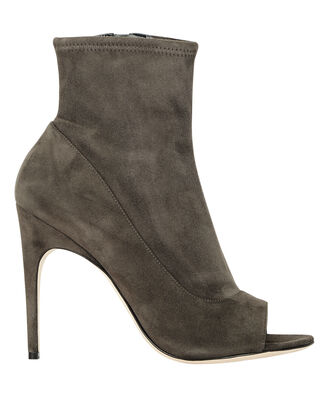 Peep-Toe Suede Booties, GREY, hi-res