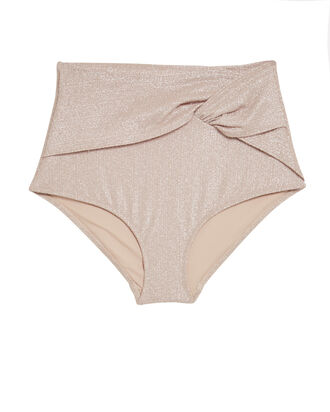 Metallic Twist Front Bikini Bottoms, CHAMPAGNE, hi-res