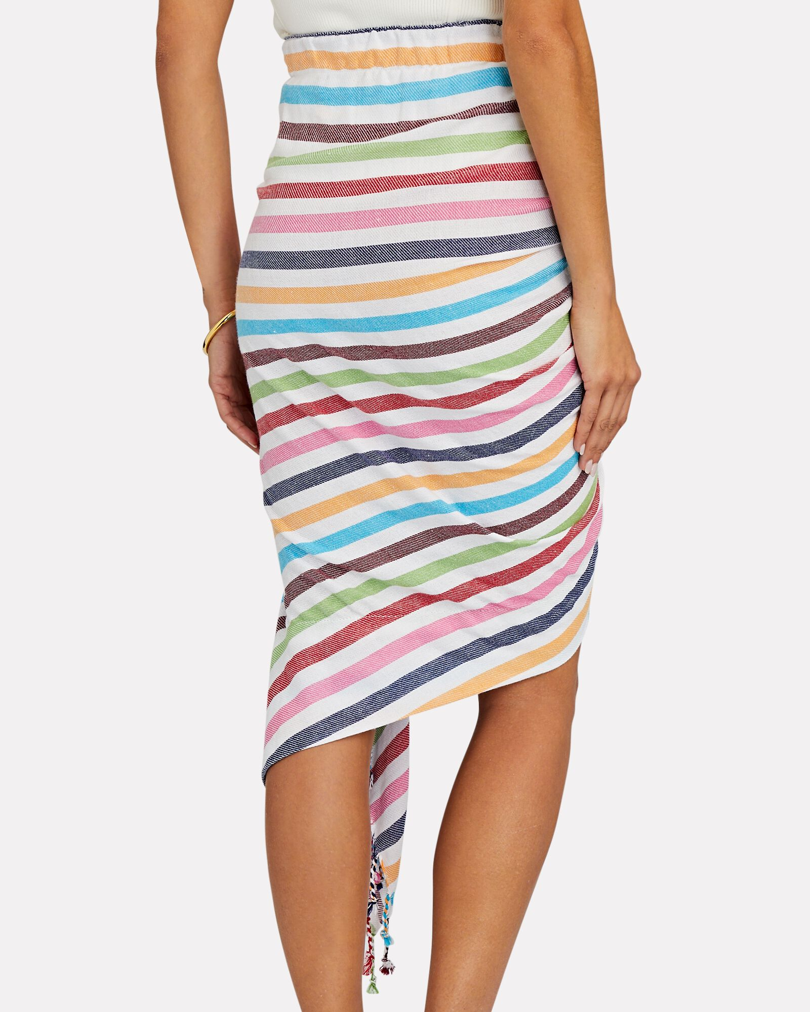 Tulum Ruched High-Low Skirt, MULTI, hi-res