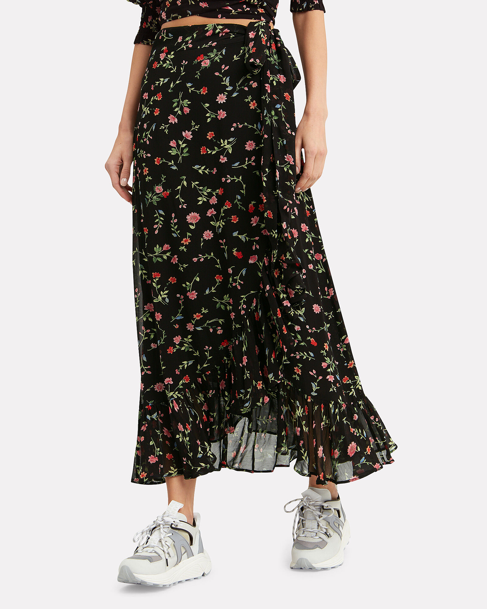 Georgette Floral Wrap Skirt, BLACK/FLORAL, hi-res