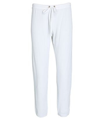 Cropped Thermal Knit Joggers, WHITE, hi-res
