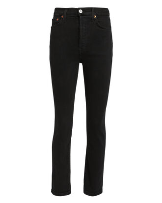 Power Stretch Black Cropped Jeans, BLACK, hi-res