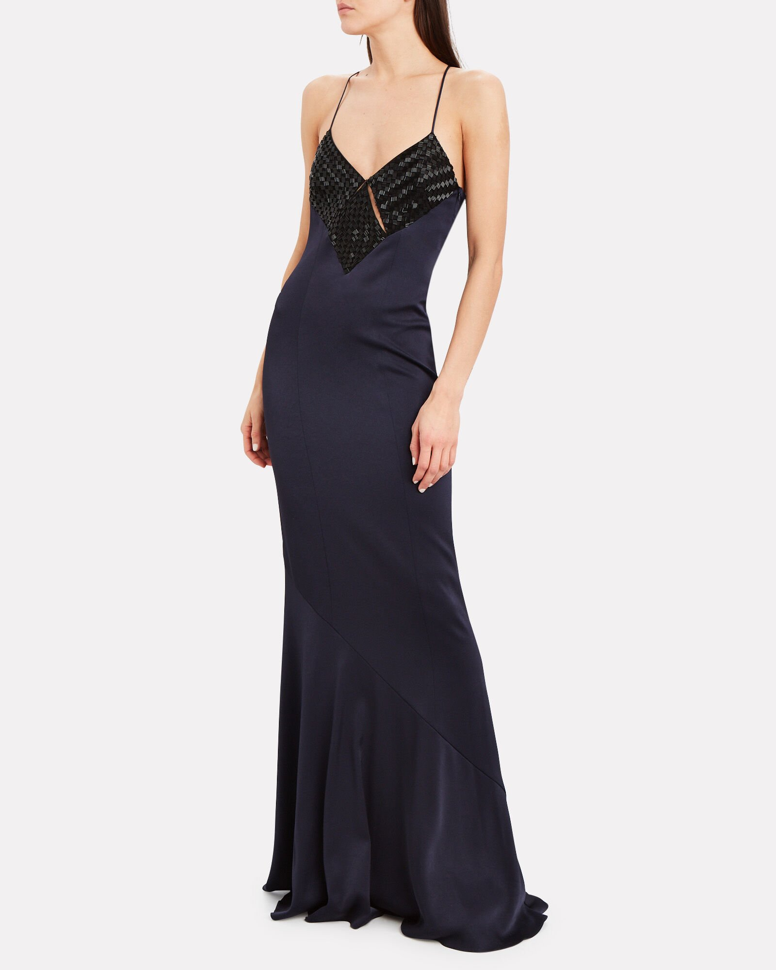 Beaded Diamond Cut-Out Gown, NAVY, hi-res
