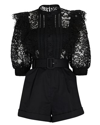 Ruffled Lace-Trimmed Playsuit, BLACK, hi-res