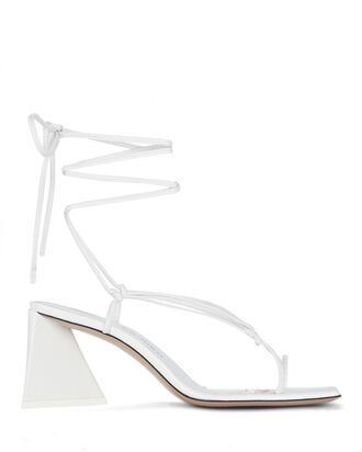 Mona Leather Wrap Sandals, WHITE, hi-res