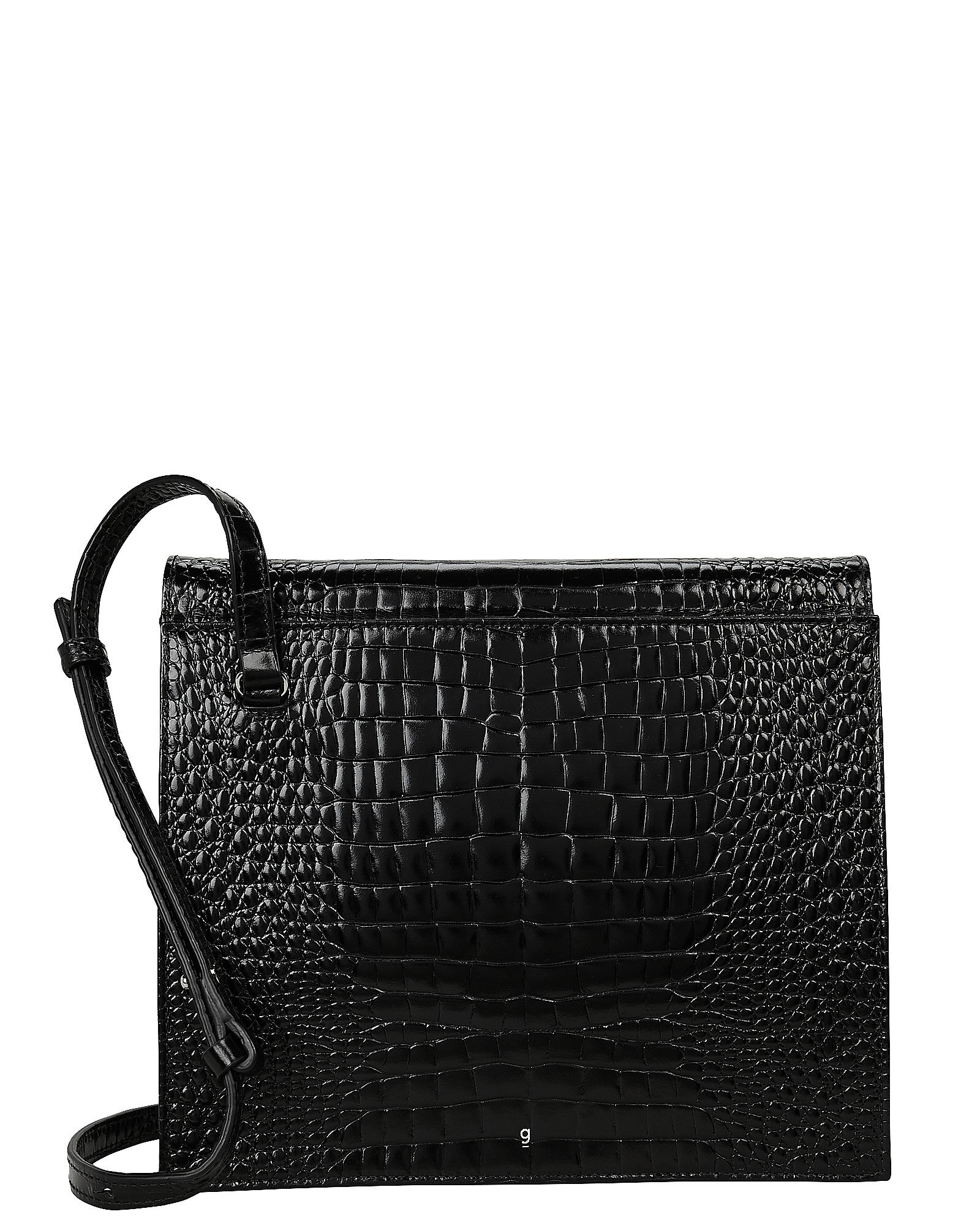 Edie Croc-Embossed Leather Bag, BLACK, hi-res