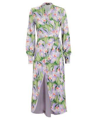 High-Low Floral Tunic, LILAC/GREEN, hi-res