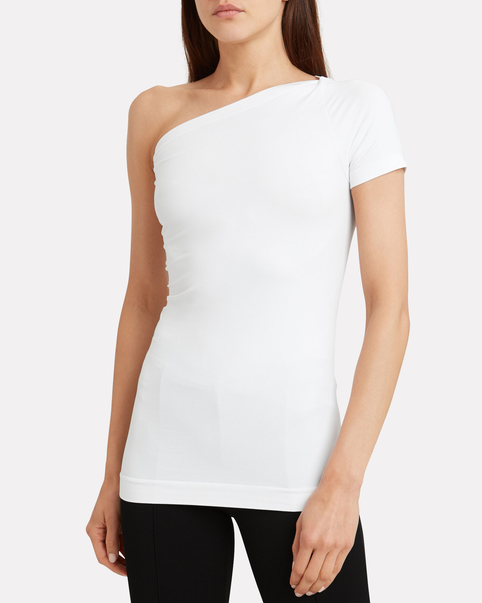 One-Shoulder Stretch Jersey Top, WHITE, hi-res