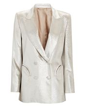 Metallic Everynight Double-Breasted Blazer, SILVER, hi-res
