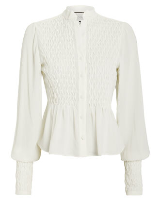 Capizzi Smocked Crepe Blouse, WHITE, hi-res