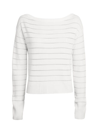 Sheer Panel Ribbed Sweater, WHITE, hi-res