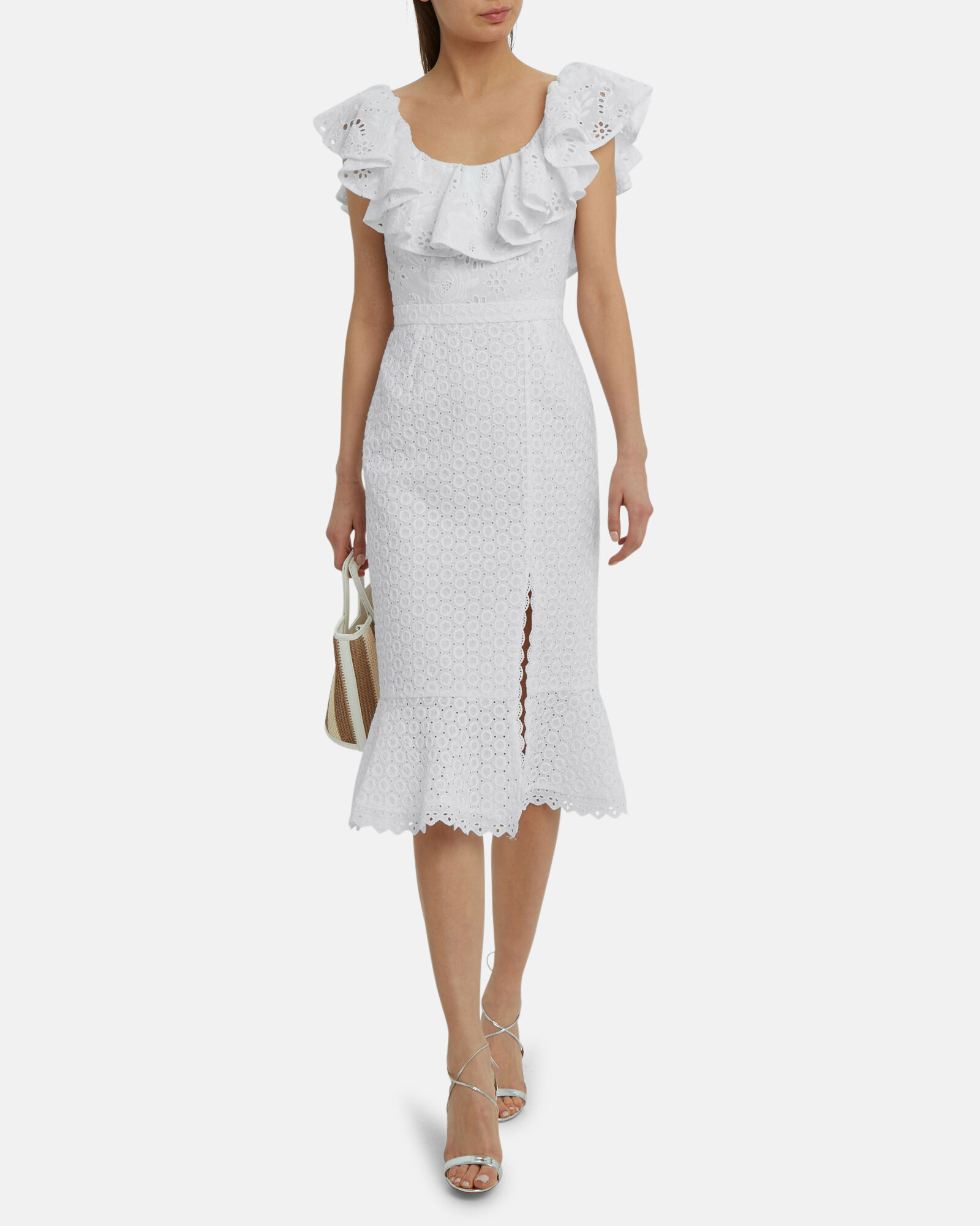 Ella Eyelet Ruffled Dress, WHITE, hi-res