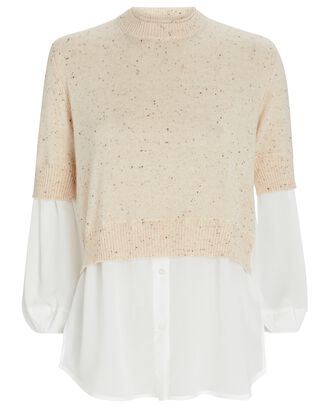 Ebella Layered Crewneck Sweater, BEIGE, hi-res