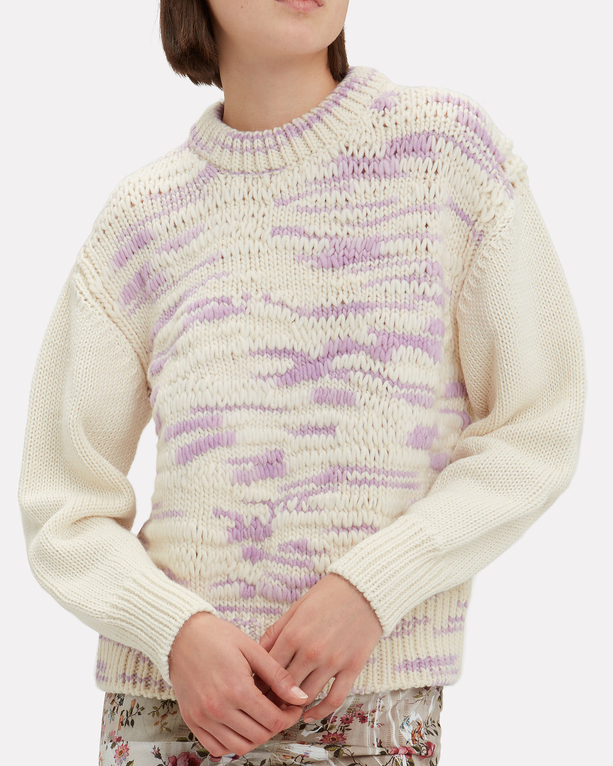 Multi Knit Sweater, IVORY/PURPLE, hi-res