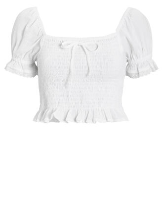 Marie Cotton Crop Top, WHITE, hi-res